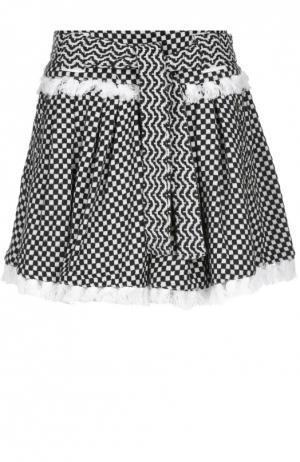 Мини-юбка в складку с контрастным принтом и поясом Dodo Bar Or. Цвет: черно-белый