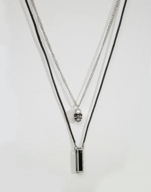 Icon Brand Два ожерелья с подвесками. Цвет: черный
