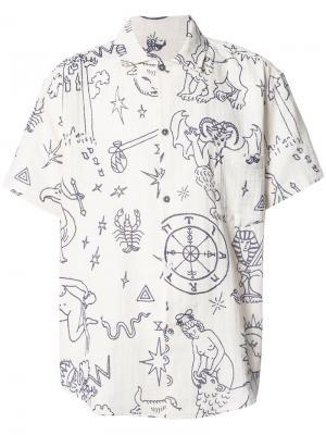 Рубашка с короткими рукавами и принтом The Elder Statesman. Цвет: телесный