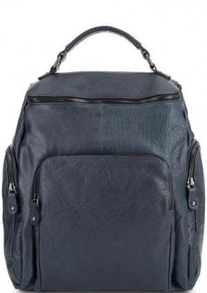Синий кожаный рюкзак с карманами Bruno Rossi. Цвет: синий
