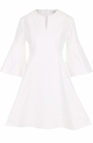 Приталенное мини-платье с расклешенными рукавами Carven. Цвет: белый