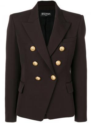 Double-breasted blazer Balmain. Цвет: коричневый