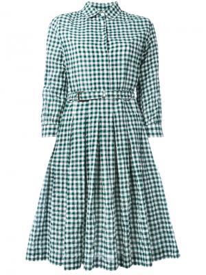 Платье-рубашка в клетку Aspesi. Цвет: зелёный