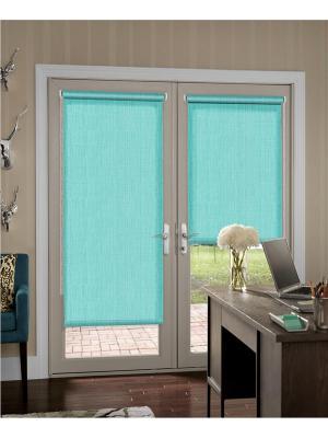 Миниролло на балконную дверь, меланж бирюзовый, размер: 52х215 см Kauffort. Цвет: бирюзовый