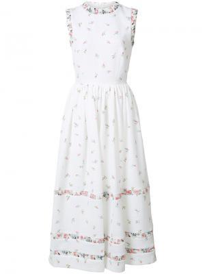 Расклешенное платье с цветочным узором Emilia Wickstead. Цвет: белый