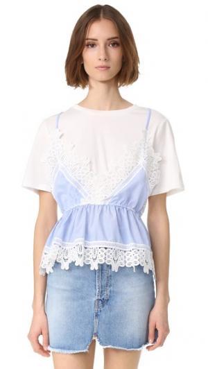 Комбинированный топ в стиле майки и рубашки с кружевной отделкой ENGLISH FACTORY. Цвет: белый/синий
