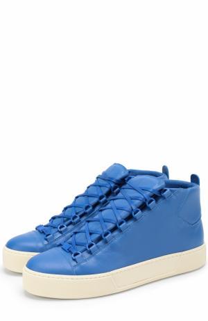 Высокие кожаные кеды на шнуровке Balenciaga. Цвет: темно-синий