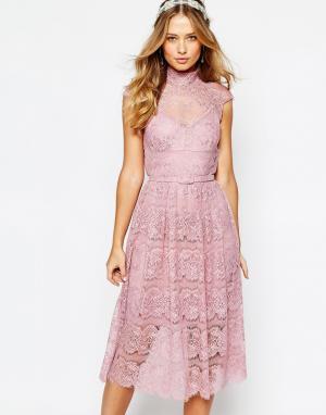 Body Frock Кружевное платье с цветочным узором Wedding. Цвет: розовый