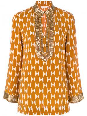 Декорированная туника Tory Burch. Цвет: жёлтый и оранжевый