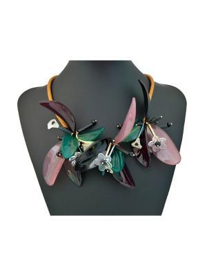 Колье Miss Bijou. Цвет: зеленый,коричневый,розовый