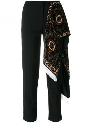 Зауженные брюки с декоративным шарфом Act N°1. Цвет: чёрный