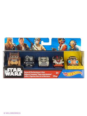 Машинки персонажей вселенной Звездные войны (упаковка из 5-ти) Hot Wheels. Цвет: голубой, красный, желтый, черный, зеленый