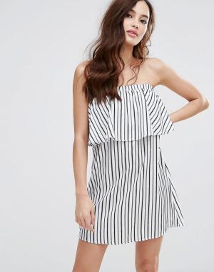 Fashion Union Платье-бандо в полоску. Цвет: белый