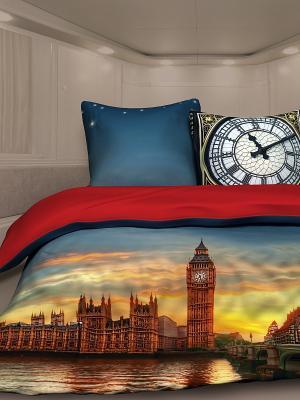Комплект постельного белья 1,5 биоматин Биг-Бен Unison. Цвет: антрацитовый, коричневый, красный