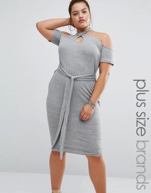 One Three Облегающее платье с халтером и завязками. Цвет: серый