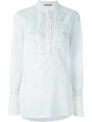 Рубашка с вышивкой Ermanno Scervino. Цвет: белый