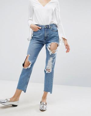 ASOS Рваные джинсы в винтажном стиле со ступенчатым краем ORIGINAL. Цвет: синий