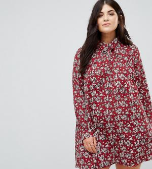 Alice & You Платье-рубашка с длинными рукавами и цветочным принтом. Цвет: красный