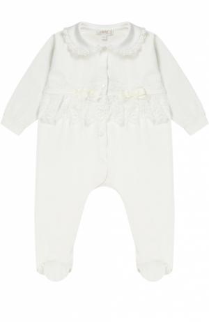 Пижама из хлопка с кружевной отделкой Aletta. Цвет: кремовый