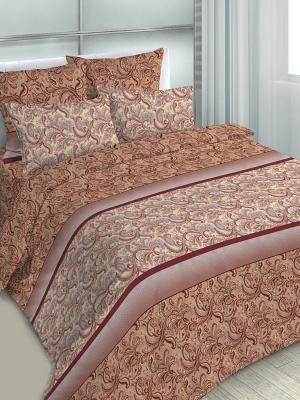 Комплект постельного белья, евро, бязь, пододеяльник на молнии Letto. Цвет: коричневый, бежевый