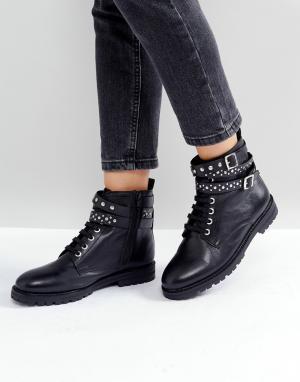 Park Lane Походные кожаные ботинки с заклепками. Цвет: черный