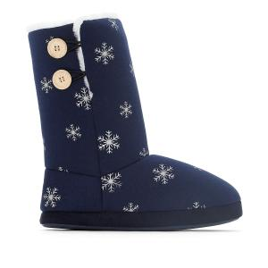 Тапки-ботинки на меху La Redoute Collections. Цвет: синий/наб. рисунок