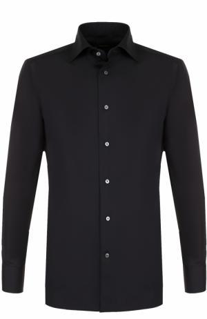 Хлопковая рубашка с воротником кент Ermenegildo Zegna. Цвет: черный