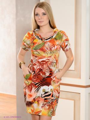 Платье МадаМ Т. Цвет: оранжевый, желтый, зеленый