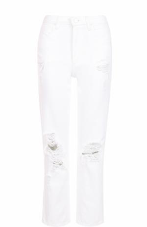 Укороченные джинсы с потертостями Denim X Alexander Wang. Цвет: белый