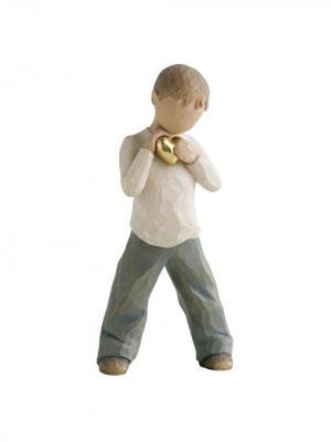 Фигурка Willow Tree (Золотое сердце, мальчик, 14 см). Цвет: серый