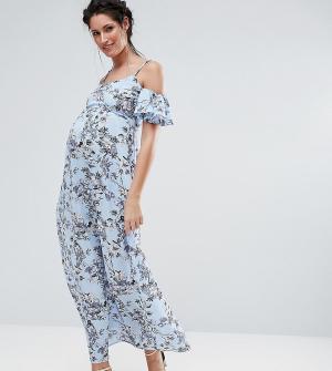 Queen Bee Платье макси с цветочным принтом и открытыми плечами. Цвет: синий