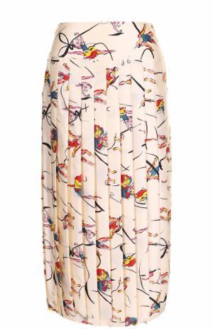 Шелковая плиссированная юбка-миди с принтом Tory Burch. Цвет: разноцветный