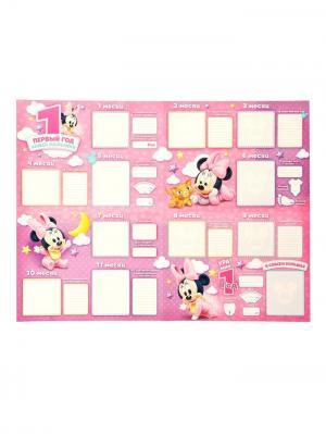 Плакат в папке Первый год нашей малышки с наклейками, Минни Маус, Дисней беби Disney. Цвет: оранжевый,розовый,персиковый