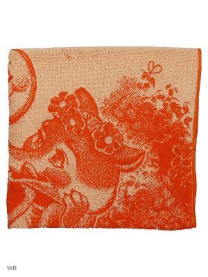 Полотенце махровое пестротканое жаккардовое Лиса и колобок Авангард. Цвет: оранжевый