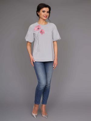 Блузка nasha. Цвет: серый, белый
