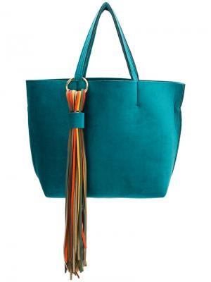 Большая сумка-тоут с кисточками Alila. Цвет: синий