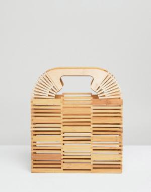 ASOS Квадратный клатч из бамбука DESIGN. Цвет: светло-бежевый