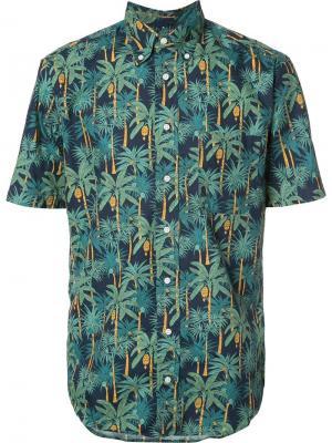 Рубашка с пальмовым принтом Gitman Vintage. Цвет: синий