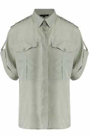 Шелковая блуза с укороченным рукавом Tara Jarmon. Цвет: зеленый
