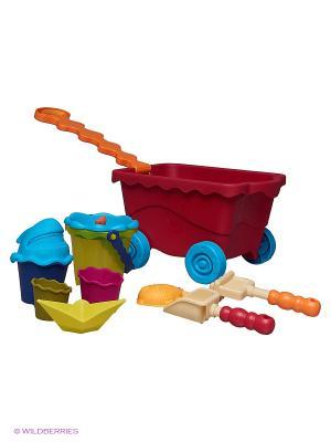 Тележка с игровым набором для песка, красная Battat. Цвет: красный, голубой, оранжевый