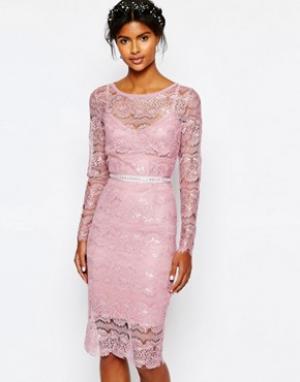 Body Frock Свадебное платье мятного цвета с отделкой на поясе. Цвет: розовый