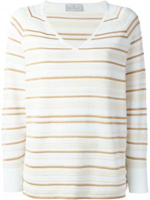 Полосатый свитер с V-образным вырезом Maison Ullens. Цвет: телесный