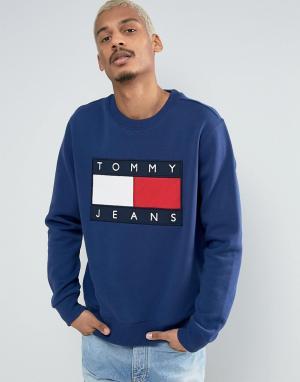 Tommy Jeans Темно-синий свитшот в стиле 90-х с круглым вырезом и логотипом J. Цвет: синий