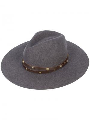 Классическая широкополая шляпа с заклепками Sensi Studio. Цвет: серый