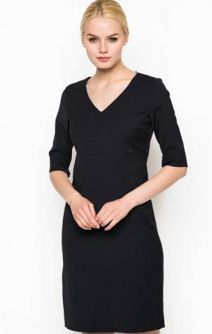 Черное платье с рукавами до локтя Cinque. Цвет: синий