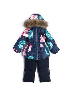 Пуховый комплект (куртка+полукомбинезон) NELS. Цвет: бирюзовый, бледно-розовый, синий, темно-синий