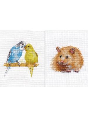 Наборы для вышивания Домашние любимицы (комплект  из двух наборов) Алиса. Цвет: голубой, желтый, рыжий