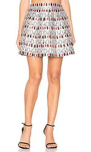 Плиссированная мини юбка fizer Alice + Olivia. Цвет: ivory