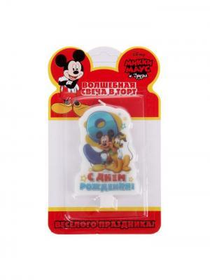 Свеча в торт, Микки-Маус Disney. Цвет: лазурный, желтый, молочный