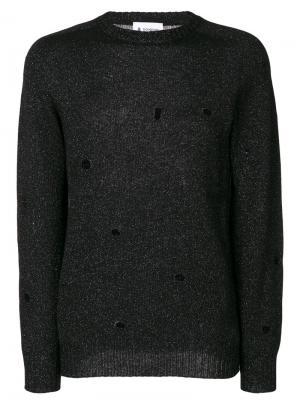 Distressed metallic knit pullover Dondup. Цвет: чёрный